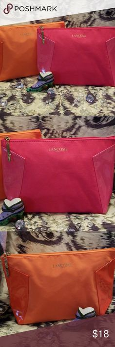 NEW  TWO LANCOME MAKEUP BAGS One Is fuchsia and  the other one is Orange .Perfect for Christmas gifts.  Both bags or lined  Made of some type of soft material . Lancome Bags Cosmetic Bags & Cases