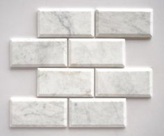 """Bianco Carrara White Marble 3x6"""" Beveled Subway Tile Polished"""