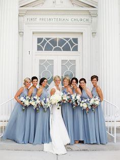 Meghan and Kevin Chicago Film Wedding wedding bridesmaids Light Blue Bridesmaid Dresses, Blue Bridesmaids, Wedding Bridesmaid Dresses, Wedding Attire, Dusty Blue Weddings, Wedding Colors, Wedding Ideas, Marie, Dream Wedding