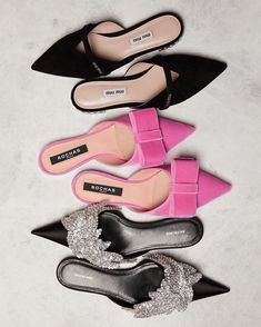 The most fabulous flats from Miu Miu, Rochas and Balenciaga at Matches Fashion. Pretty Shoes, Beautiful Shoes, Fancy Shoes, Pink Shoes, Black Shoes, Fashion Shoes, Fashion Accessories, Velvet Fashion, Mode Inspiration