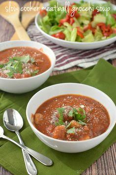 Slow Cooker Meatball Gnocchi Soup - Wine & Glue
