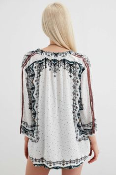 Ecote Lily Lace-Up Collar Blouse - Urban Outfitters