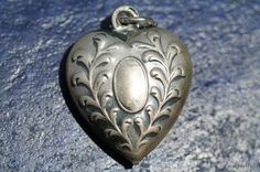 Antique Victorian Sterling Silver Repousse Puffyheart charm for a bracelet #charm # sterlingsilver #heart