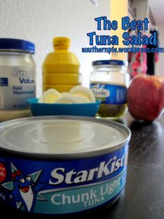 Delicious tuna salad with hard-boiled eggs & apples