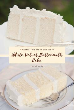 White Velvet Buttermilk Cake Recipe Whìte velvet cake gets ìt's flavor and velvety texture from buttermìlk. A moìst, tender cake that. Just Desserts, Delicious Desserts, Dessert Recipes, Yummy Food, White Desserts, Tasty, Bakery Recipes, Homemade Desserts, Frosting Recipes