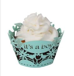 It's a Boy or Girl Cupcake Wrapper laser cut cupcake wrappers. Trust us when we tell you that no cupcake is done until it has been fitted with the right wrap! These wrappers fit a standard size cupcake.Size: x Robins Egg or B Cupcakes For Boys, Girl Cupcakes, Baby Shower Cupcakes, Cupcake Party, Party Cakes, Shower Cakes, Cupcake Wraps, Cupcake Liners, Shower Party
