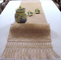 15 X 72 Handmade burlap table runner fringes and lace designs, wedding burlap table runner, burlap tablecloth, table runner burlap cloth