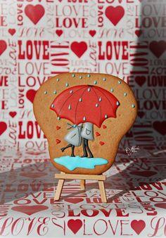 rain of love Valentines Baking, Valentines Day Cakes, Valentine Cookies, Easter Cookies, Valentine's Day Sugar Cookies, Iced Cookies, Cute Cookies, Fondant Cookies, Royal Icing Cookies