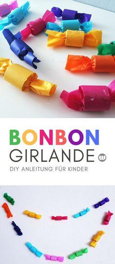Girlande basteln mit Kindern: Bonbon Deko-Girlande für den Kindergeburtstag