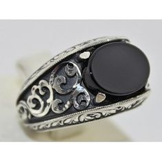 Sterling Silver 925 men ring , design with onyx natural stone.