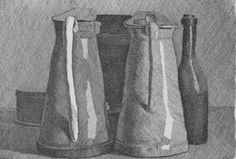 Georgio Morandi. Still Life with 5 Objects. 1956. Etching on cream weave paper 15in x 18 1/2 in