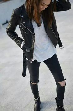 Ripped black pants, black and gra gray, leather jacket
