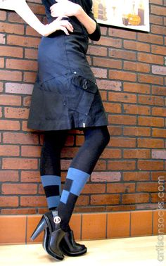 Geometric Sweater Knit Tights in Black with Blue Stripe and Squares from Artisan Socks www.artisansocks.com