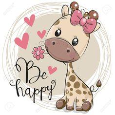 Cute Cartoon Giraffe with flower. Greeting card Cute Cartoon Giraffe with flower royalty free illustration Cartoon Giraffe, Cute Cartoon Girl, Cute Cartoon Animals, Cute Animals, Drawing Cartoon Animals, Images Kawaii, Cute Images, Cute Pictures, Cute Animal Drawings