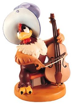 WDCC Disney Classics Symphony Hour Clara Cluck Bravo Bravissimo #WDCCDisneyClassics #Art.  Cello: Painted two shades of brown. Hat: Detailed in two shades of blue.  Bass Cello Bow: Metal, with keys enhanced with gold, as is metal support. Cello is sculpted as a separate add-on piece.