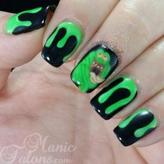 Ghostbusters Slimer Nail Art with Madam Glam Neon Lime Green