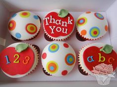 Teacher appreciation an/or back-to-school cupcakes Fondant Cupcakes, Kid Cupcakes, Baking Cupcakes, Yummy Cupcakes, Cupcake Cakes, Cup Cakes, Elegant Cupcakes, Cupcake Ideas, Teacher Cupcakes
