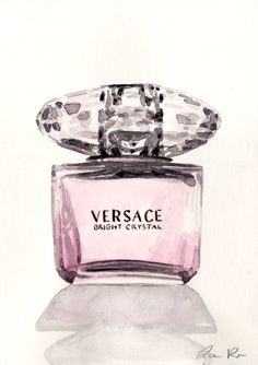 Versace Bright Crystal Perfume Bottle - ORIGINAL Watercolor 5 x 7 - Gianni Versace Hollywood Red Carpet Sparkling