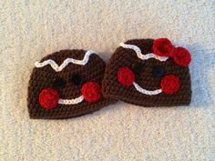 Crochet Newborn to Three Month Baby Girl Boy Twin Gingerbread Man Beanies, Christmas Hats, Holiday Hats on Etsy, $40.00