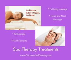 """Spa therapy treatments """"at home"""" from a good selection. Priced for a group package (min 5 guests) from just each. Hen Party Packages, Spa Therapy, Reflexology Massage, Chichester, Nail Treatment, Head And Neck, Getting Old, Beaches, Catering"""