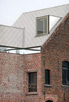 Image 19 of 46 from gallery of House Rot Ellen Berg / architecten de vylder vinck taillieu. Photograph by Filip Dujardin Bridge Design, Facade Design, Roof Extension, Mirror House, Dormer Windows, Roof Structure, Adaptive Reuse, Building Exterior, Brick And Stone