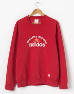 26f8423a287 FOR SALE  Vintage ADIDAS Sweatshirt in Red Size L Large Crew Neck Pullover  Sweat