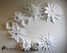 Papier fleurs mariage décoration grand mur groupe par balushka
