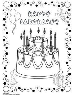 Birthday Coloring Page FREEBIE - this would be fun - to give this to the birthday student instead of the normal morning work :) Cool Coloring Pages, Free Coloring, Coloring Sheets, Coloring Books, Adult Coloring, Happy Birthday Coloring Pages, Class Birthdays, Birthday Cards, Teacher Birthday