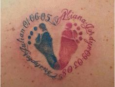 Top 10 Footprint Tattoo Designs - love the 2 colors, and love the one with 2 feet inside a simple black heart outline! (no names!)
