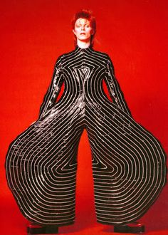 Striped bodysuit for the Aladdin Sane tour, 1973. Design by Kansai Yamamoto.Photograph by Masayoshi Sukita© Sukita / The David Bowie Archive