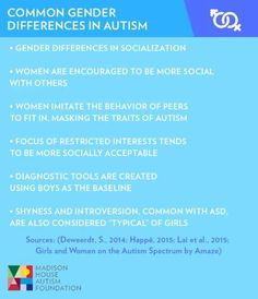 Came across this interesting slide on gender differences in autism from an article on misdiagnoses #womenandautism #ASD #genderautism #AS