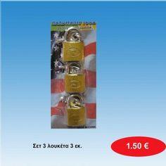 Σετ 3 λουκέτα 3 εκ. 1,50 €