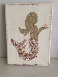Mermaids, canvas, Coastal Decor, Coastal Art, Beach decor, Mermaid decor, Seaglass Mermaid, Seashell Mermaid