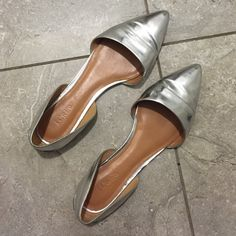 J crew factory SILVER METALLIC d'orsay flats These fancy metallic silver pointed toe are imported, man made sole, polyurethane upper.. Worn a few times. They was so popular they sold out everywhere.. Limited stock.. Perfect condition shoe bottoms will be cleaned before shipping!!!  J. Crew Shoes Flats & Loafers