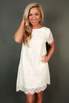 Forever Chic Lace Shift Dress in White