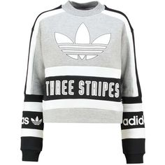 Sweatshirt grey/black (320 NZD) ❤ liked on Polyvore featuring tops, shirts, sweaters, blusas, crop tops, adidas originals shirt, crop shirt, gray shirt, shirt crop top and cropped tops