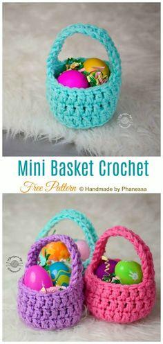 Mini Easter Treat Basket Free Crochet Patterns