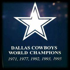 Dallas Cowboys World Champions 1971, 1977, 1992, 1993, 1995