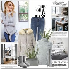The girl in jeans!! by lilly-2711 on Polyvore featuring polyvore, мода, style, Woolrich, Miss Selfridge, 7 For All Mankind, UGG, Belle Vie, fashion and clothing