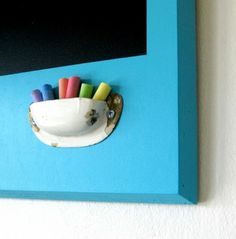 Drawer Pull Chalk Holder. Omg. Perfect for my menu board!