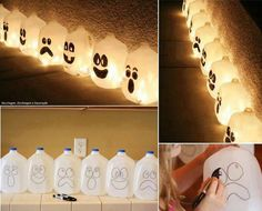 Plastic milk carton candle lanterns
