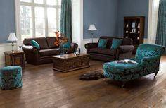 Blues and browns (ignore the hideous chaise longue pattern)