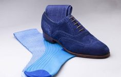 Edward Green Malvern Blue Suede Shoes  www.theshoesnobblog.com
