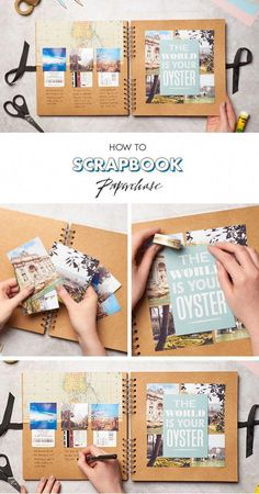 In need of scrapbooking ideas? Well, this one is perfect, especially if you go travelling a lot and want to record all of your activities while away. We love this scrapbooking layout, perfect for beginners too! The best bit is customising your scrapbook w Travel Journal Scrapbook, Diy Scrapbook, Scrapbook Albums, Scrapbook Photos, Scrapbook Ideas For Birthday, Scrapbook Layouts Travel, Simple Scrapbooking Layouts, Picture Scrapbook, Couple Scrapbook