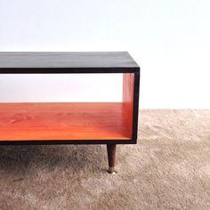 Coffee Table Handmade Mid Century Modern ORANGE Burst and ESPRESSO Brown (or custom color) Coffee Table Furniture MCM