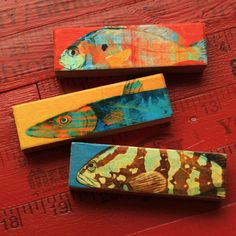 New to johnwgolden on Etsy: Small Art Fish Prints- Fish Sticks- Stick Fish Art Block Set of 3 Gifts for Fishermen- Gifts for Dad- Fisherman Art- Saltwater Fish Art (14.00 USD)