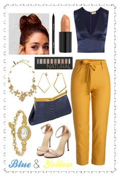"""""""Blue and Yellow"""" by haybeebaby on Polyvore featuring L'Agence, J. Mendel, Natures Jewelry, Dutch Basics, Oscar de la Renta, Forever 21, Arbonne and Urban Decay"""