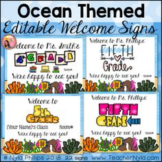 Editable Welcome Signs for K-5 - Ocean Theme