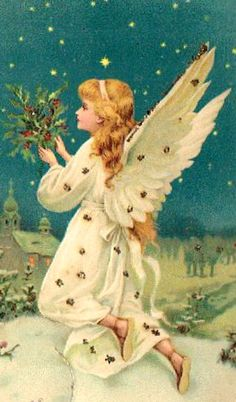 Antique Christmas postcard with Angel.