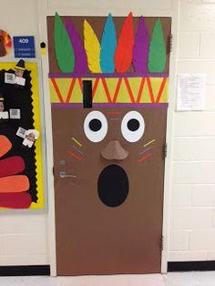 CasedillaCrumbs in the Classroom! Fun Native American Thanksgiving Class Door Decor Indian